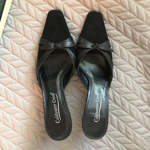 In box, Coldwater creek 8 Black Trim Suede Slides